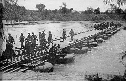 Historical Pictures - Soldiers on Pontoon Bridge.